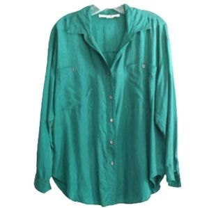 JONATHAN MARTIN Green Long Sleeve Silk Blouse M